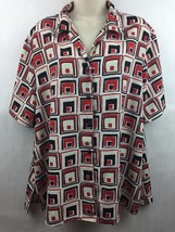 Notations Clothing Co Red & Black Geometric Button-up Shirt Short Sleeve... - $14.84