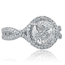 2.56 TCW Round Cut Diamond Engagement Infinity Ring 14k White Gold - $5,939.01
