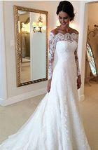 Bateau Neck Illusion Long Sleeve Small Train White Lace Wedding Dress 2018 - $155.00