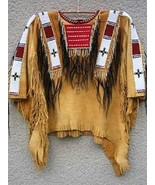 Men Native American Buckskin Beige Buffalo Leather Bead POW WOW War Shirt WB26 - $269.10