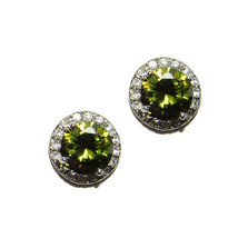 Round Halo Clear+Olive Cubic Zirconia Rhodium Stud Earrings 11MM - $23.76