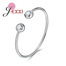 Simple Design 925 Sterling Silver Bracelet Cubic Zirconia Romantic Wedding Anniv - $14.03