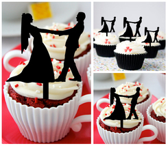 Decorations Wedding Cupcake topper,silhouette wedding couple Package : 10 pcs - $10.00