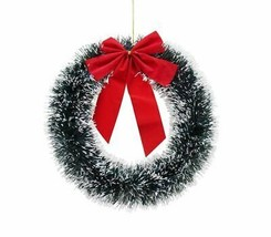 TINSEL WREATH WITH BOW 33cm, Christmas Decoration - $2.53