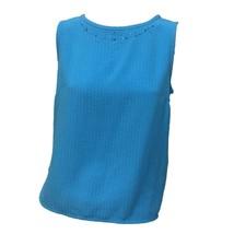 Koret Mujer Azul Aqua Cuello Redondo sin Mangas Cuentas Cuello Blusa Top... - $12.87
