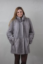 Sapphire Mink fur coat Full Skin with hood 110 cm xlarge size - $1,930.50
