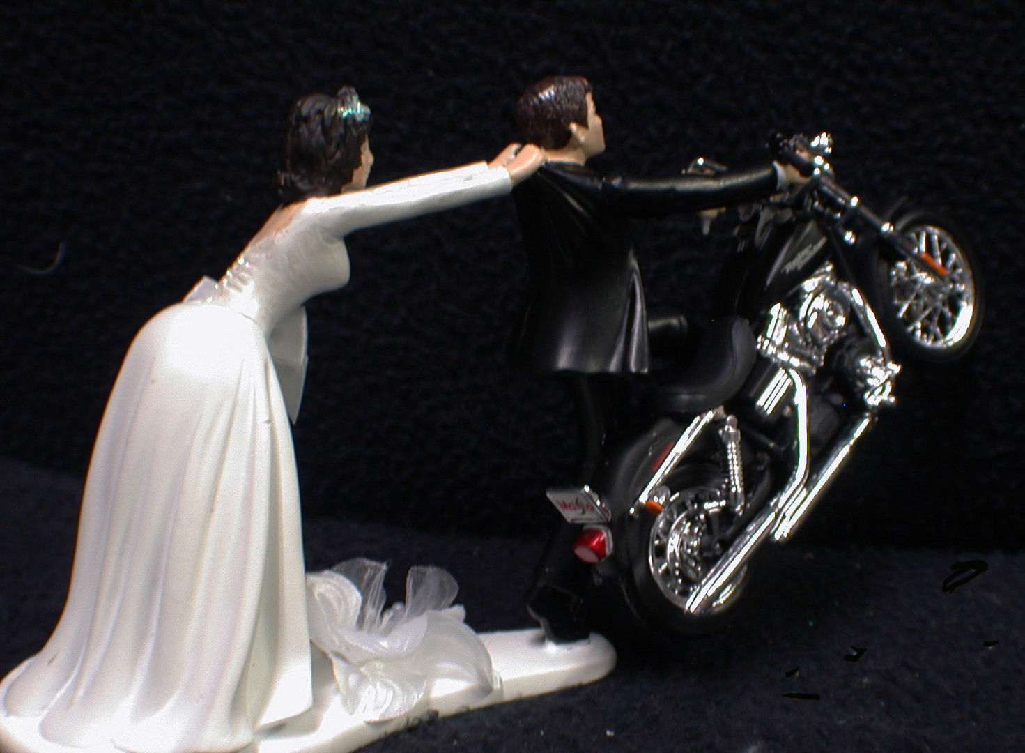 Wedding Cake Topper W/ Harley Davidson Motorcycle White Black Hispanic Groom top