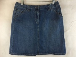 "Talbots Stetch Denim Blue Jean Skirt Size 10 Knee Length Waist 30"" - $17.77"