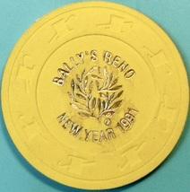 NCV Casino Chip. Bally's, Reno, NV. New Year 1991. Q69. - $4.29
