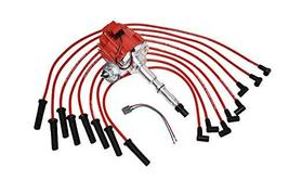 A-Team Performance HEI Distributor 65K Red Cap, Silicone Spark Plug Wires Set Re