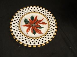 "White China Plate Lattice Edge Hand-painted Poinsetta 8"" wide - $23.99"