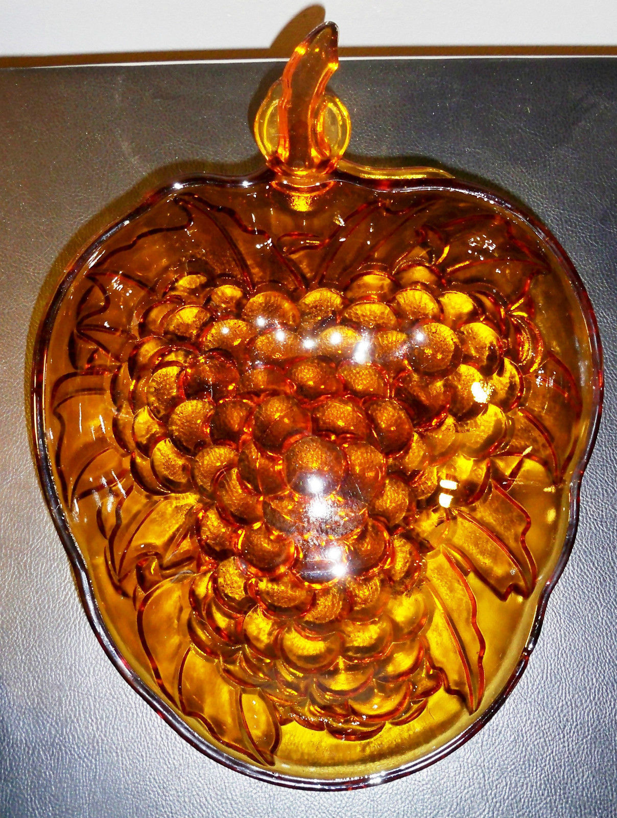 Vintage Large Amber Indiana Glass Bowl- Grape Cluster Pattern