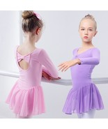 Ballet Dress Gymnastics Long Sleeve Skirted Leotard Children Kids Dance ... - $14.95+