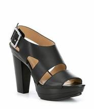 Michael Kors Carla Leather Buckle Platform Block Heel Sandal Sz 8 - $31.68