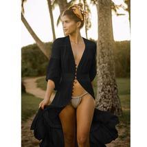Women's Solid Tunic Style Button Down Long Lantern Sleeve Cotton Beach Dress image 6