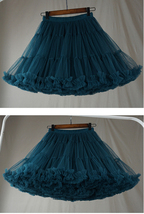 TEAL Blue Tiered Short Tulle Skirt Outfit Plus Size Teal Blue Puffy Tulle Skirt  image 4