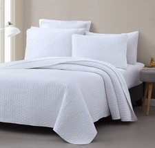 Vega 3pc Quilted Bedspread/ Coverlet Set, Stitched pattern 100% Cotton Filling - $46.44