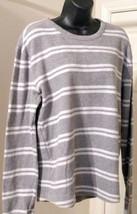 Sonoma Lifestyle Women's Medium Gray White Striped Thermal Cotton Sweater - $7.91
