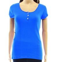 Ralph Lauren Womens Size S Ribbed Henley Knit Aqua Blue Top 4024-3 - $13.88
