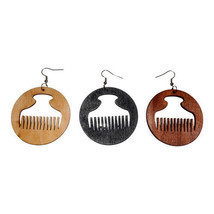 Wooden Afro Comb (Duafe/Beauty) Statement Earrings - €3,11 EUR