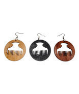 Wooden Afro Comb (Duafe/Beauty) Statement Earrings - $71,53 MXN