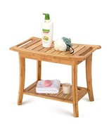 """OasisSpace Bamboo Shower Bench, 24"""" Waterproof Shower Chair with Storage... - $57.78"""