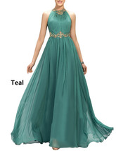 Women's 2018 Halter Long Prom Dress Pleated Evening Party Gown Beaded El... - $117.86