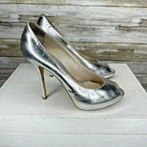 Christian Dior Metallic Silver Leather Peep Toe Pumps Shoes Size 37.5 US... - $99.00