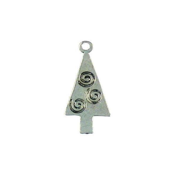 TREE WITH SWIRL FINE PEWTER PENDANT CHARM - 27mm x 13mm x 1.5mm