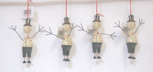 Youngs Incorporated 90321 Folk Art Ornaments Dark Green 4 Inch  Snowman Four Set