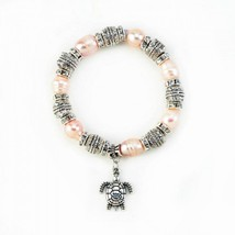Pink Pearl With Turtle Stretch Bracelet - $22.18