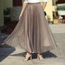 Women Full Pleated Long Skirt Pleated Tulle Tutu Skirt Party Tulle Outfits Plus  image 2