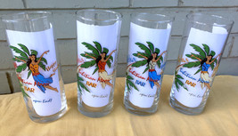 Set of 4 Aloha Hawaii Tahitian Moon Home Tiki Bar Tall Mancave 16oz Hula... - $28.93