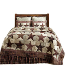 3-pc King ABILENE STAR Quilt and Shams Set - 5 Patch Star Plaids - VHC Brands