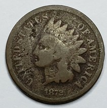 1872 Semi Key Date Indian Head Cent Penny Coin Lot 519-83