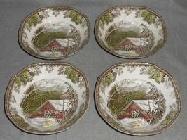 Set (4) Johnson Brothers FRIENDLY VILLAGE PATTERN Cereal Bowls ENGLAND - $49.49