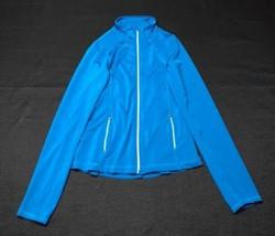 Women's Sansara Turquoise Yoga Fitness Jacket Full Zip Size M Ruffle Back  - $11.65