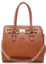 Large Leather Goldtone Studded Cognac Satchel Handbag by Fiore Collection  - $89.90