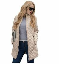 Ladies Long Quilted Jacket Outerwear Winter Coat  Medium image 4