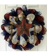 Country  Western Star Patriotic Wreath Handmade Deco Mesh - $94.99