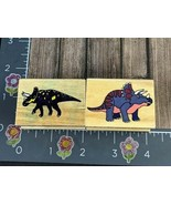 Melissa and Doug Rubber Stamps Dinosaurs Triceratops Set Lot of 2 Wood #... - $6.92