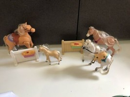 Fisher Price Loving Family Riding Fun Horses heart white sounds fence lot 4 - $39.55
