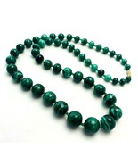 "Vintage Malachite Graduated Bead Necklace 24"" Long 10k Gold Barrel Clasp - $94.05"