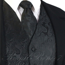 BLACK XS to 6XL 20-B Paisley Tuxedo Dress Vest Waistcoat & Neck tie Wedd... - $20.77+