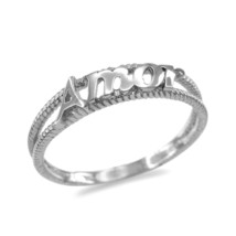 10K White Gold Amor Ladies Milgrain Ring - $109.99