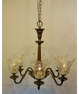 Rustic Clear Glass Kitchen Dining 6 Light Chandelier Bronze Finish Light... - $337.66