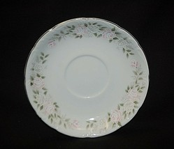 """Vintage Classic by Sheffield 5-7/8"""" Saucer Plate Pink Roses on Rim Green Leaves - $8.90"""