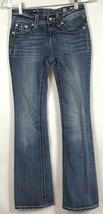 Miss Me Jeans Girls Size 14 Jeans Fleur De Lis BLING Bootcut Distressed B6-9 image 2