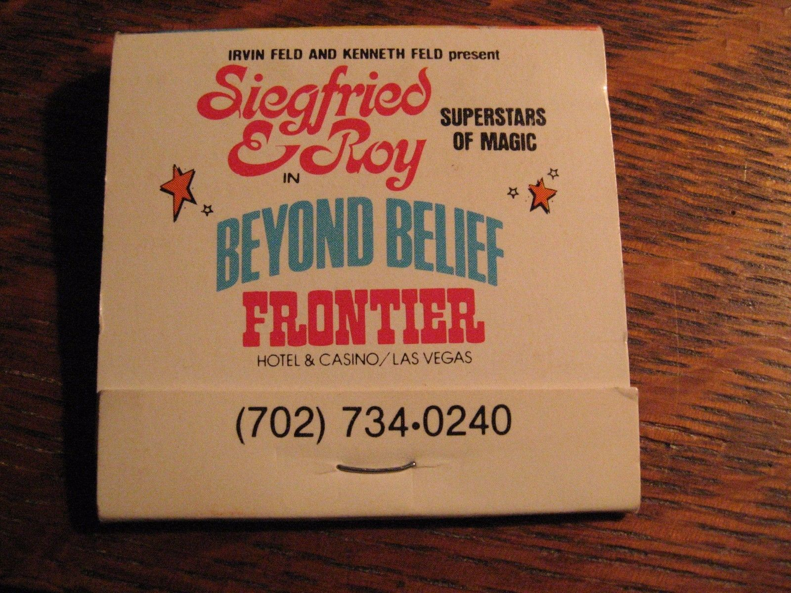 Siegfried & Roy Matchbook - Vintage Frontier and 50 similar items