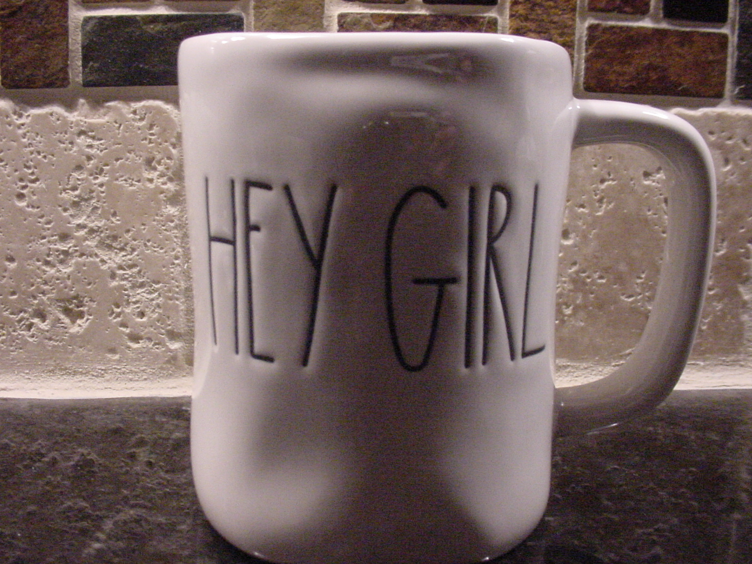 Rae Dunn HEY GIRL Rustic Mug, Ivory with Black Letters, New!